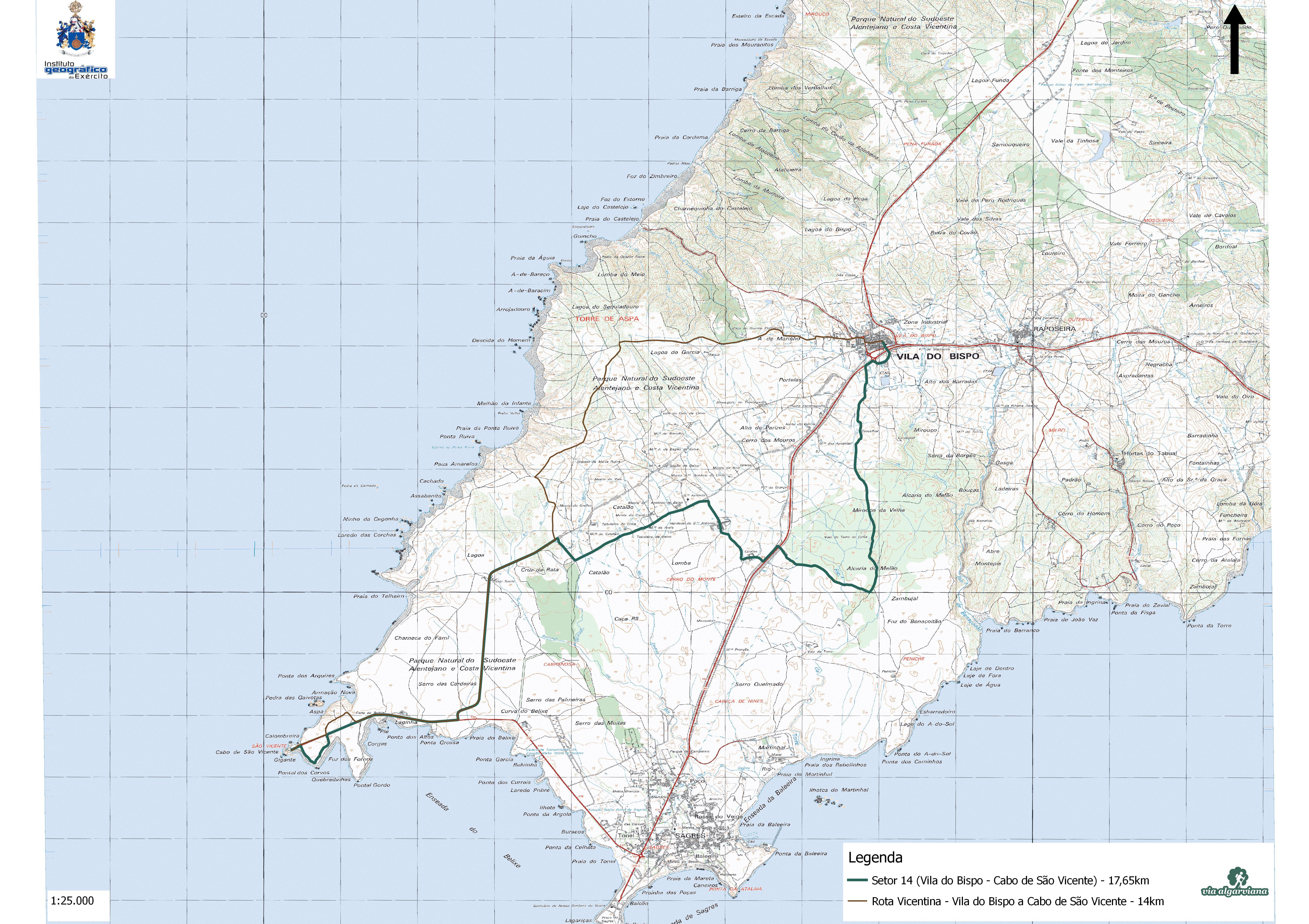 Via Algarviana Mapa Setor 14 Vila Do Bispo A Sagres Walking