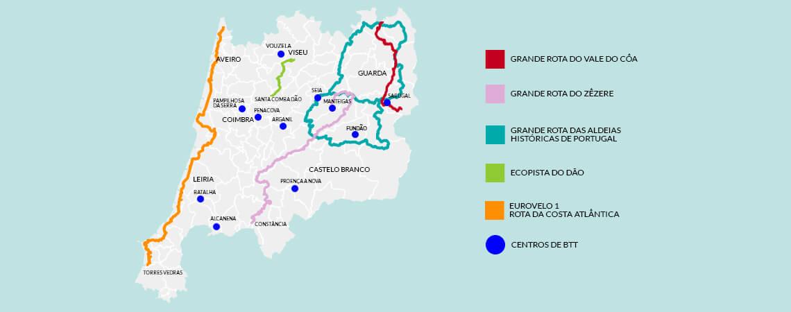 Mapa do Centro de Portugal